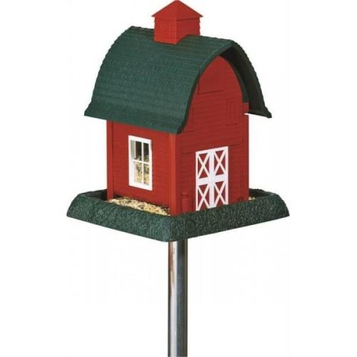 Red barn bird feeder