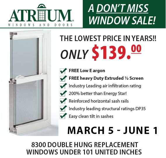 atrium windows sale