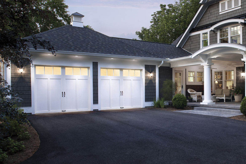 double garage with Clopay garage doors
